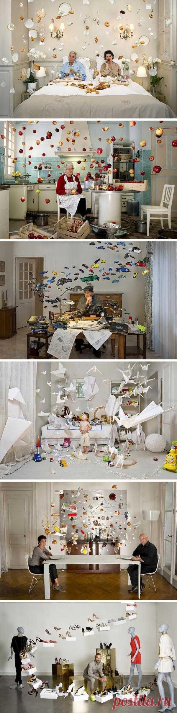 Парящие объекты. Проект французского фотографа Серис Дусе, в котором она создает таинственные моменты. Неодушевленные предметы оживают в вихре хаоса. Каждое изображение в ее коллекции более захватывающее и неожиданное, чем предыдущее.