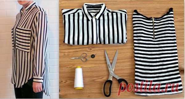 Платье из тельняшки (DIY) / Блузки / Модный сайт о стильной переделке одежды и интерьера