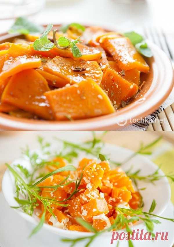 Постные блюда: печеная тыква с грибами и чесноком
