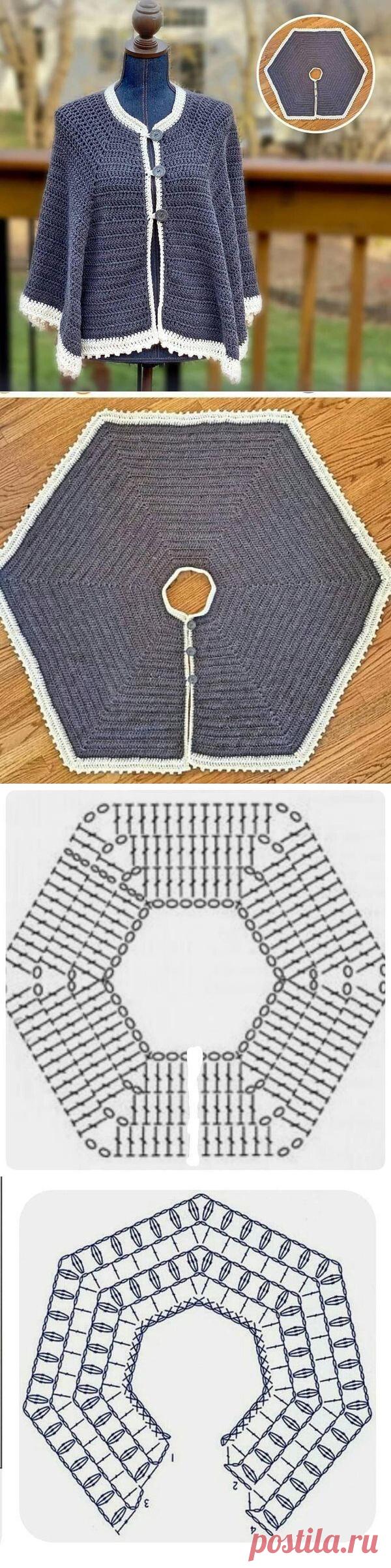 Плотная шаль-накидка, связанная крючком