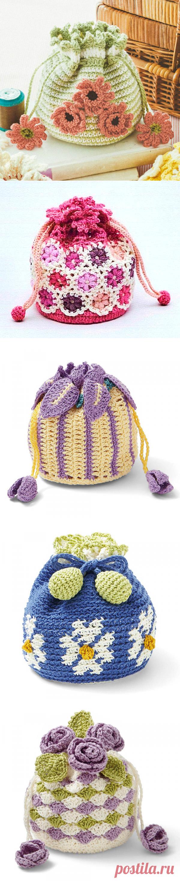 Цветочные мешочки крючком. Идеи, схема. | HandMadeObzor | Яндекс Дзен
