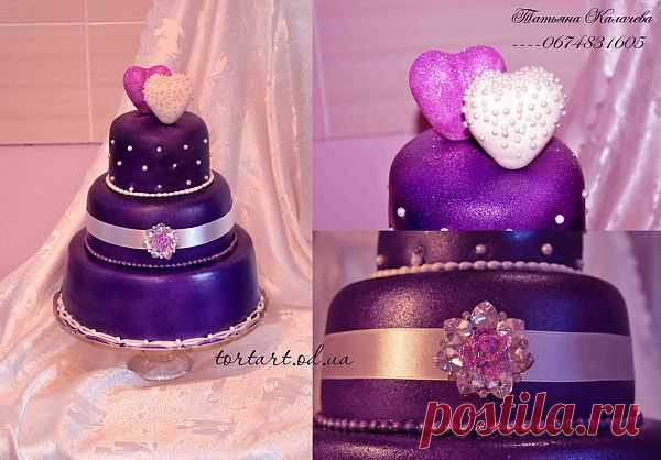 Свадебный торт *Фиолетовый гламур*