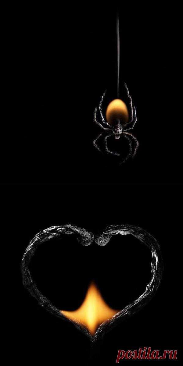 Екатеринбургский фотограф ПолТергейст работает с горящими спичками, из которых создает удивительные картины. Оттенки черного, серого и желтого, причудливые формы, которые принимают сгоревшие спички, огонь и дым, дают ПолТергейсту вдохновение придумывать самые разные сюжеты, объекты и персонажи, от новогодних елок до животных и насекомых. (24 фото)