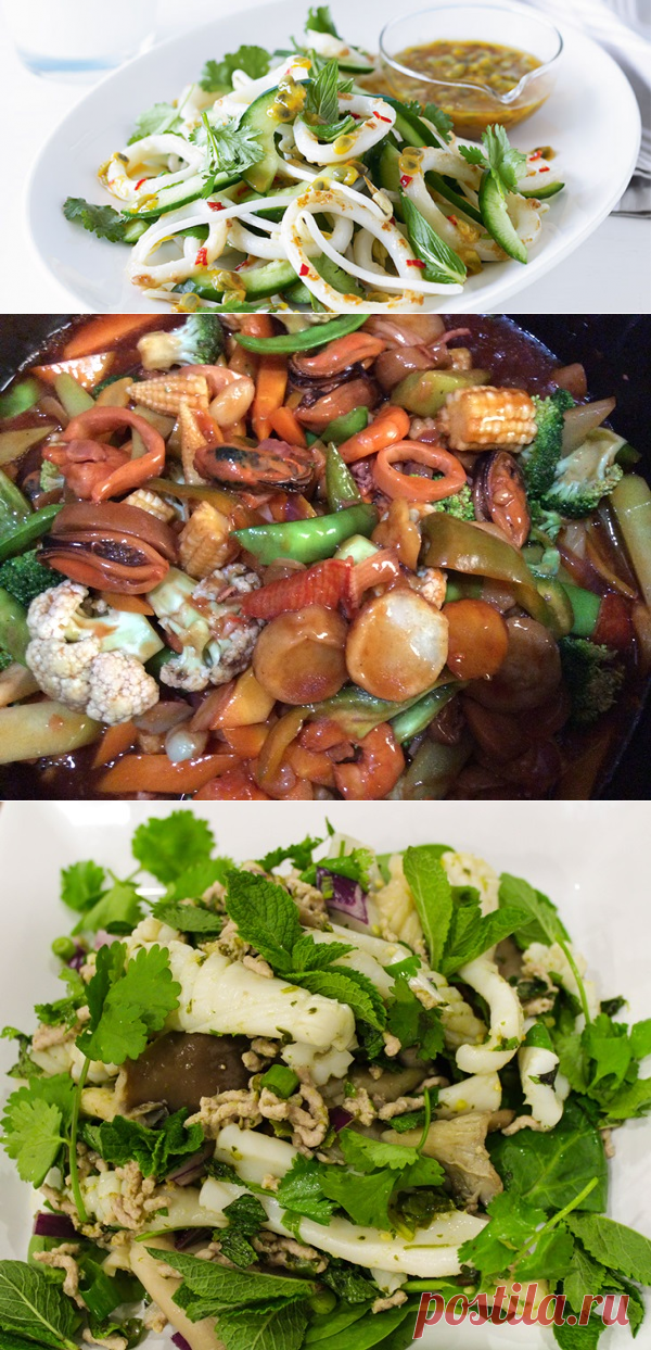 Салаты с кальмарами: самый вкусный и простой с яйцом и огурцом, зеленым горошком - Рецепты салатов с кальмаром с пошаговыми фото и видео