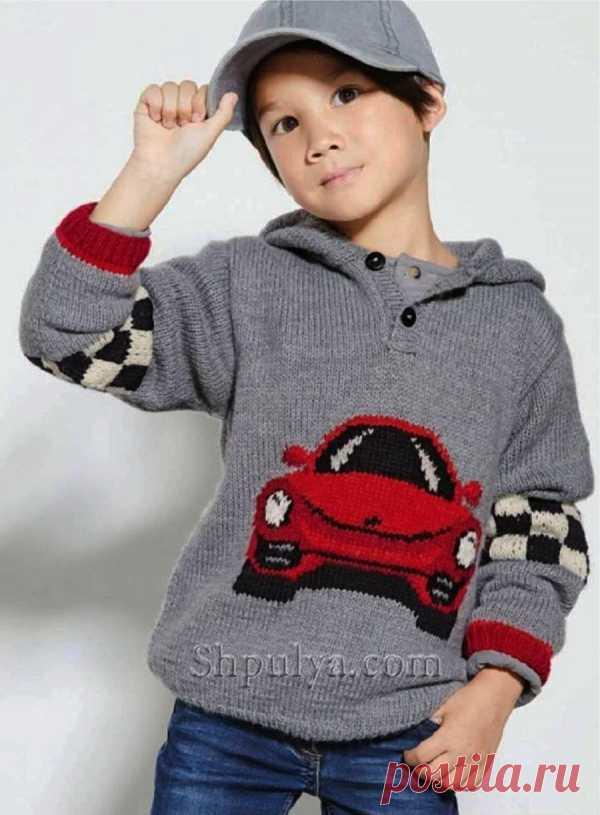 Пуловер с капюшоном и жаккардовым узором для мальчика - SHPULYA.com