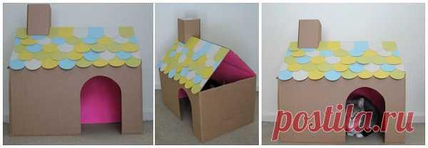 Видео как сделать из картона домик