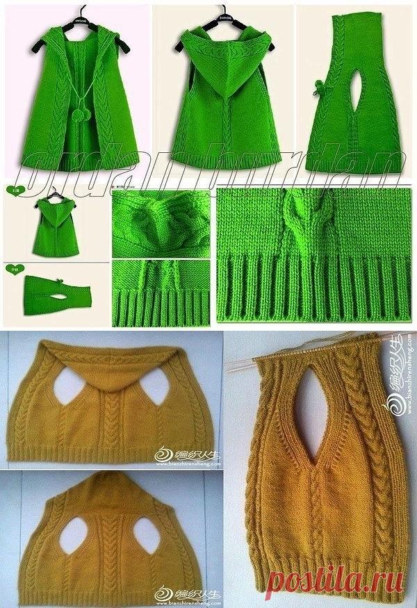 жилет с капюшоном единым полотном вязание спицами журнал