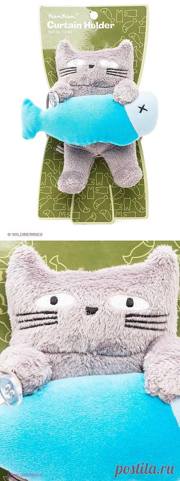 Забавный кот - держатель штор в детской