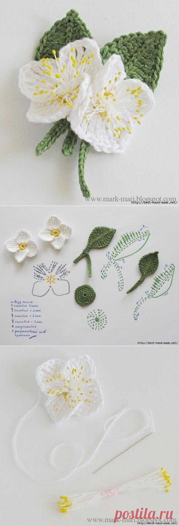 """Цветы жасмина крючком. Схема и описание от Галины, """"Марк и Мари"""". Комментарии"""