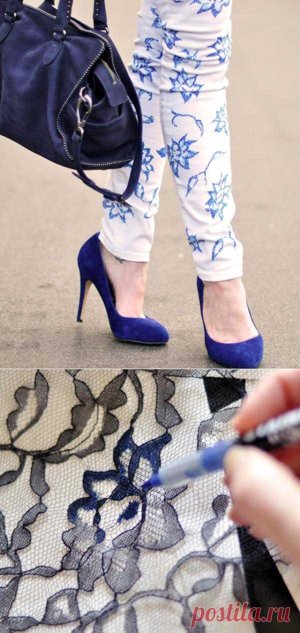 Цветочный принт на джинсах