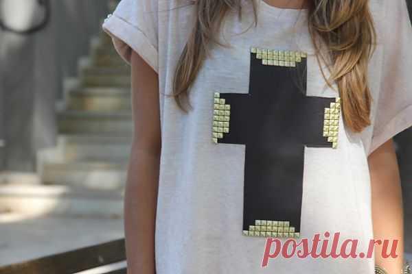 Клепки на футболке / Футболки DIY / Модный сайт о стильной переделке одежды и интерьера