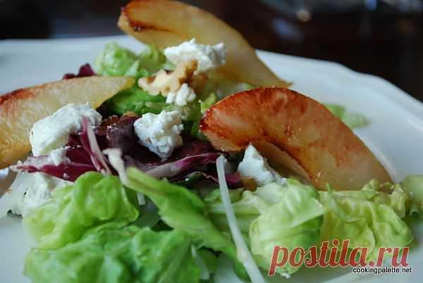 Cалат с запеченной грушей, козьим сыром и грецкими орехами » Cooking Palette