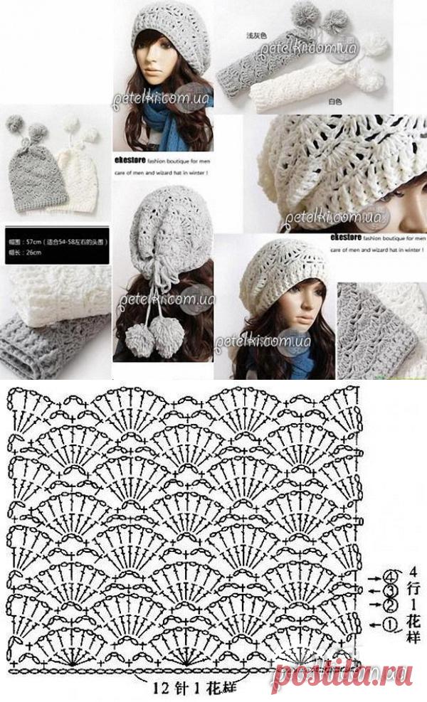 ажурная шапка чулок крючком схема вязания вязание крючком постила
