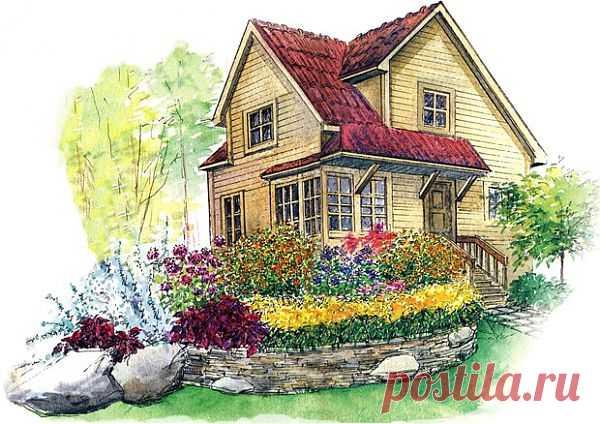 Cад в стиле кантри, деревенский стиль сада, схемы деревнских цветников | Любимые цветы