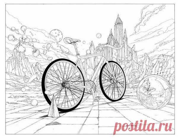Таинственный замок из раскраски «Вокруг света на велосипеде»
