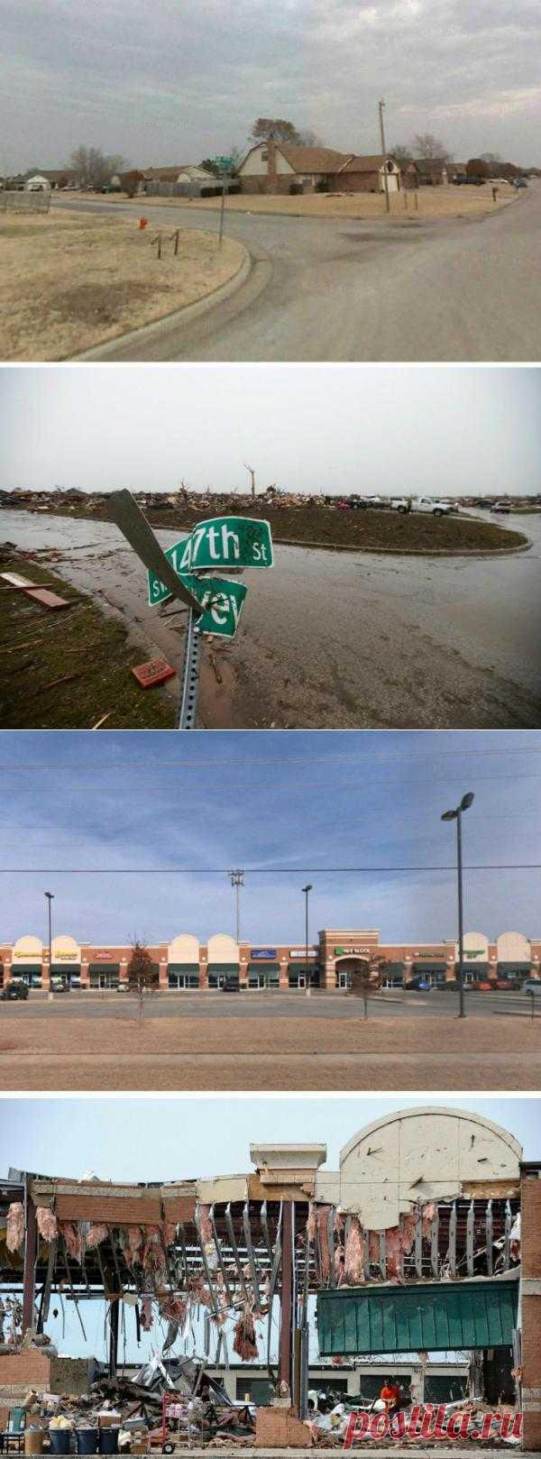 Город Мур, до и после торнадо