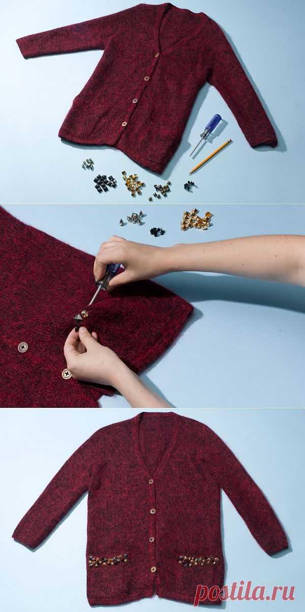 Кардиган: декор карманов (DIY) / Свитер / Модный сайт о стильной переделке одежды и интерьера