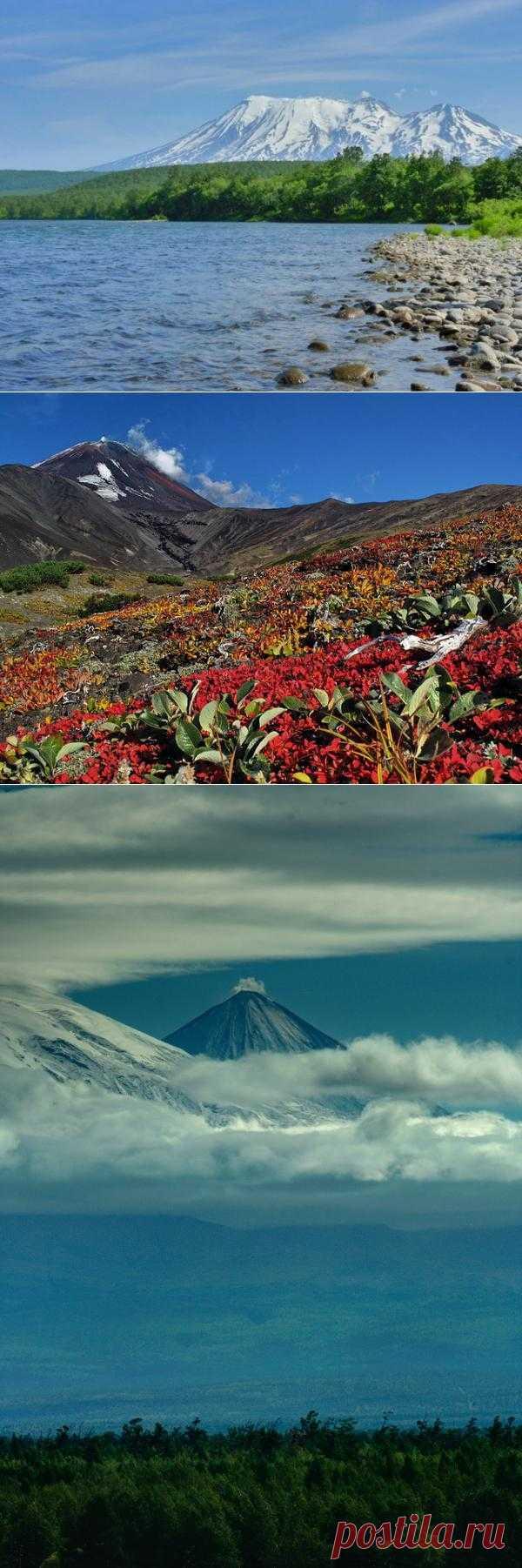 Вулканы Камчатки. Каменные факелы еще неостывшей земли Камчатского полуострова привлекают ученых и путешественников с разных уголков земли, ведь именно здесь сосредоточена 10-я часть всех вулканов нашей планеты. На Камчатке находятся приблизительно около 1000 вулканов, из которых 30 являются действующими. Камчатка, Россия
