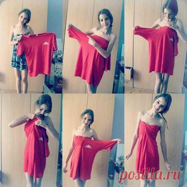 Платье из футболки (DiY) / Как носить? / Модный сайт о стильной переделке одежды и интерьера