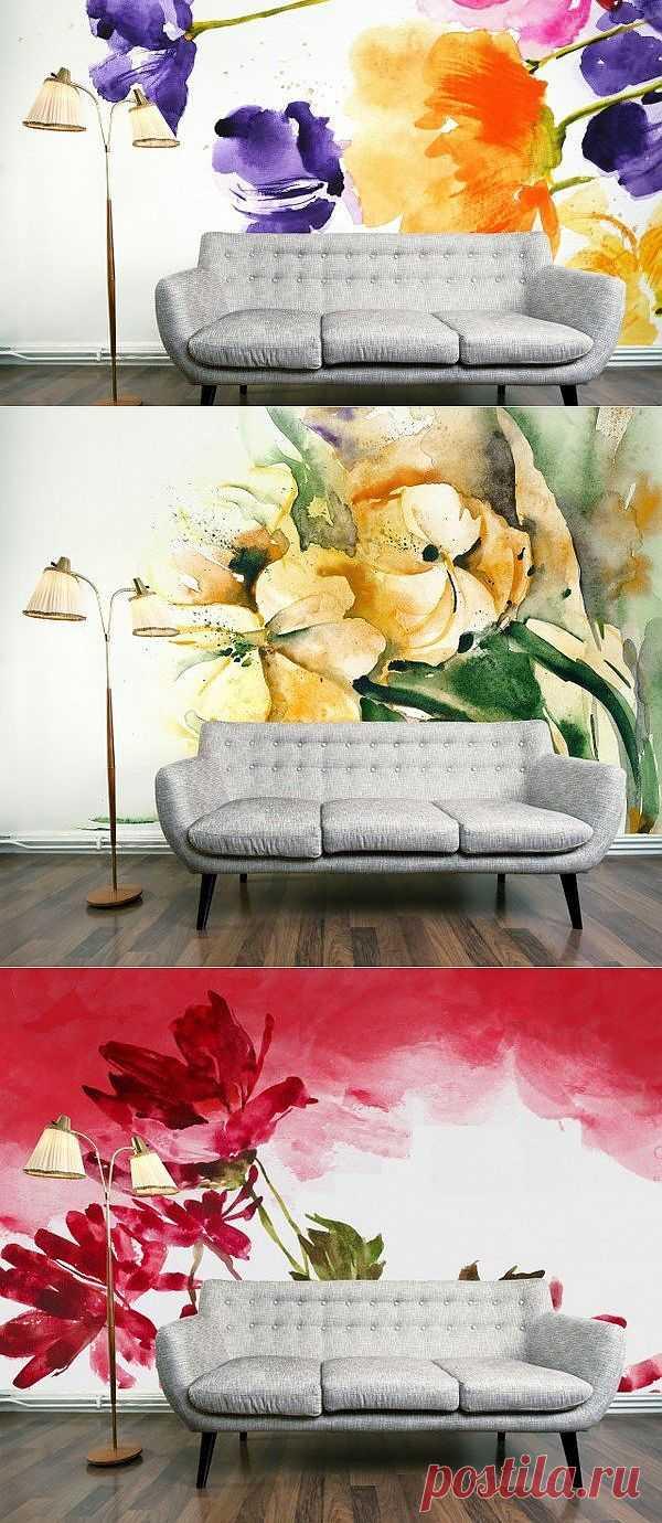 Цветочные обои / Декор стен / Модный сайт о стильной переделке одежды и интерьера