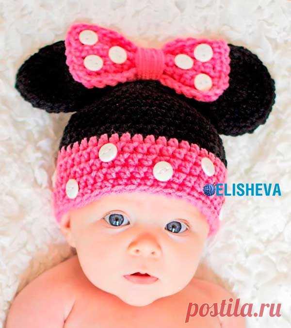 Детская шапочка Микки Маус и Минни Маус дизайнера Sarah, вязаная крючком | Блог elisheva.ru