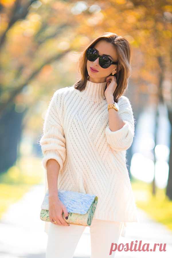 уютная диагональ свитер оверсайз спицами тема на осинке