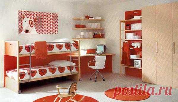 Children's bedroom in red color.