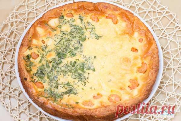 Очень вкусный сырный пирог с креветками.