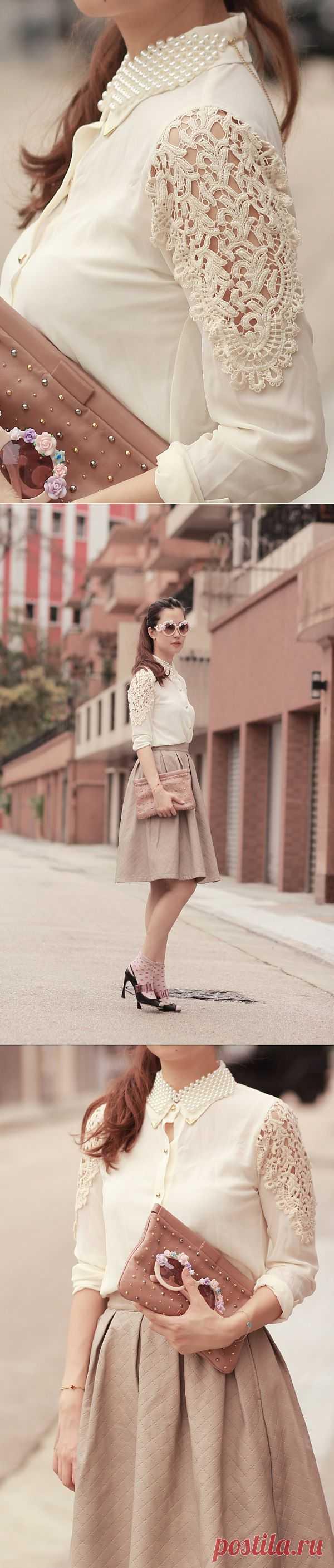 Кружево на блузе / Блузки / Модный сайт о стильной переделке одежды и интерьера