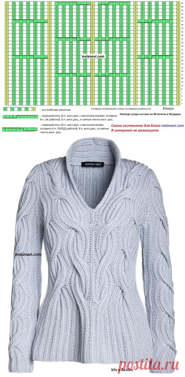 свитер английской резинкой вяжем с лана ви вязание постила