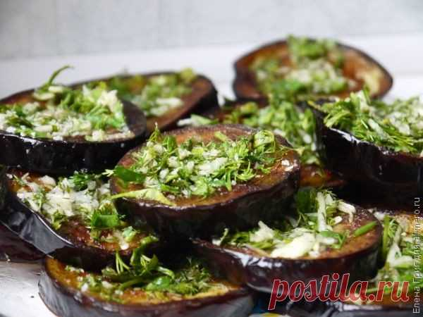 Жареные баклажаны с чесноком и зеленью / Рецепты с фото