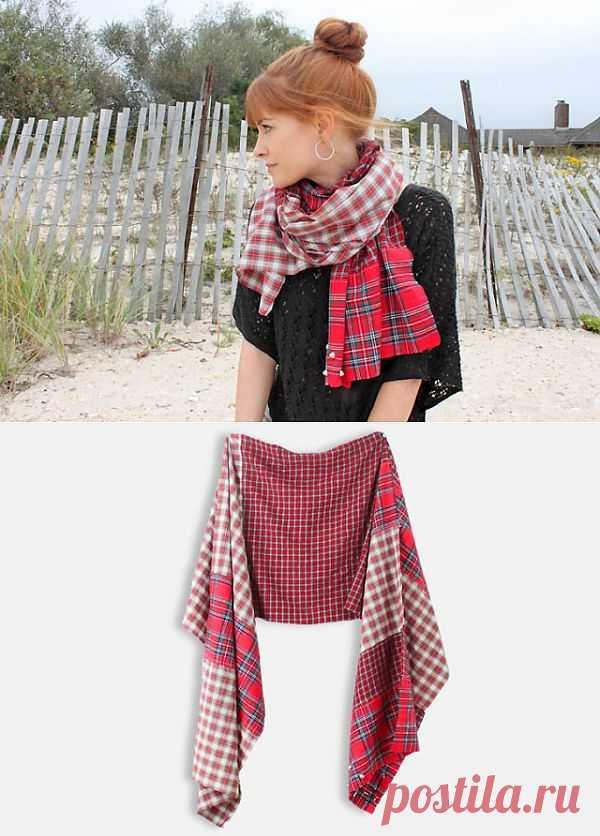 Шарф из рубашки DIY / Пэчворк / Модный сайт о стильной переделке одежды и интерьера