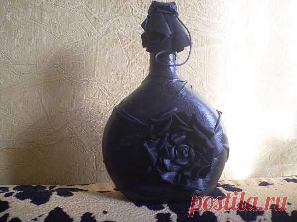 бутылки декорированные кожей