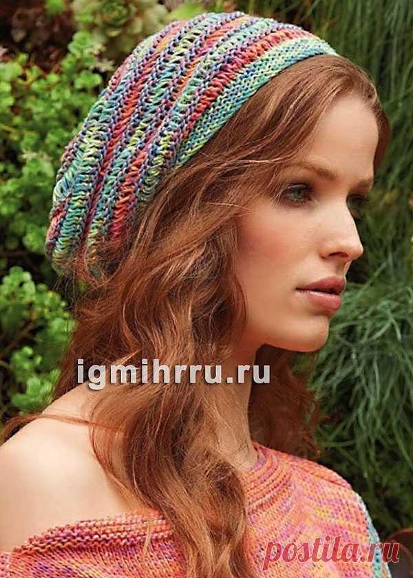 Стильная летняя шапочка с полосами. Вязание спицами