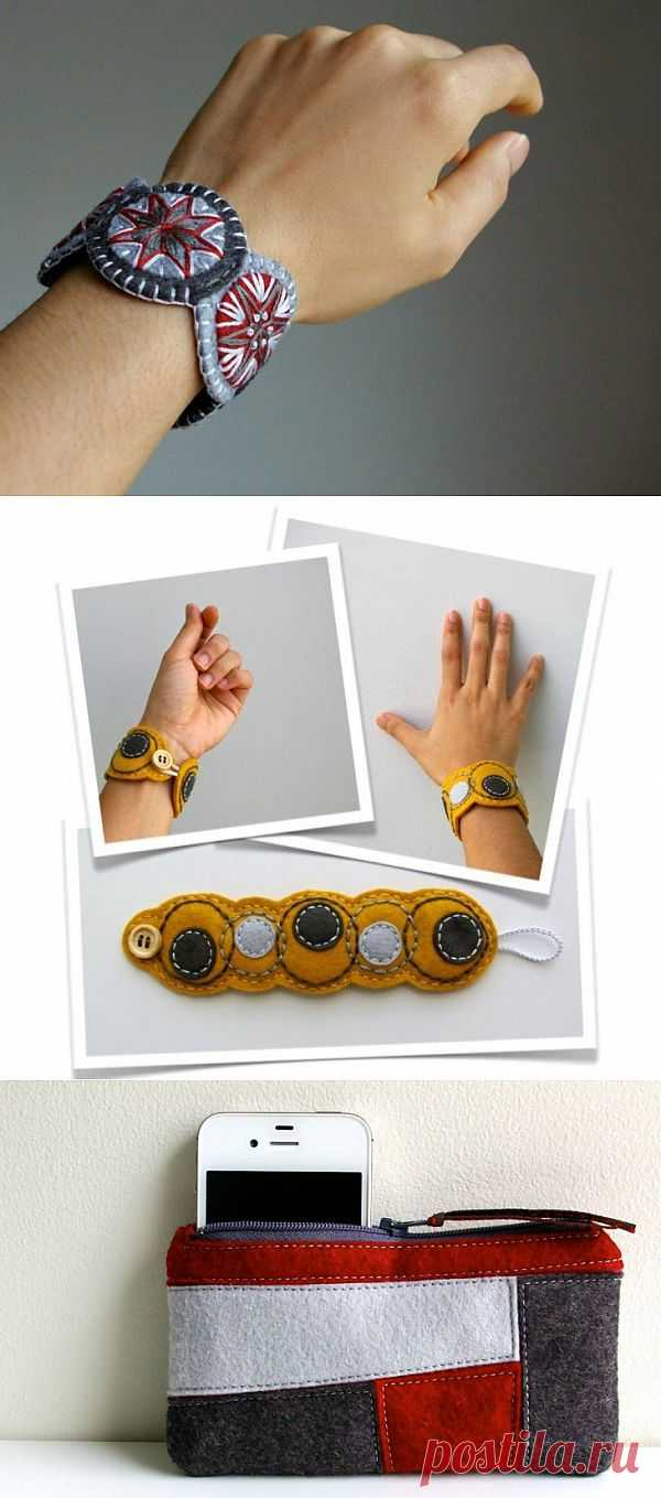Войлочные украшения с вышивкой (трафик) / Украшения и бижутерия / Модный сайт о стильной переделке одежды и интерьера