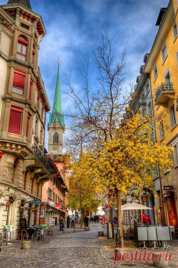 Прекрасный старый город Цюрих, Швейцария