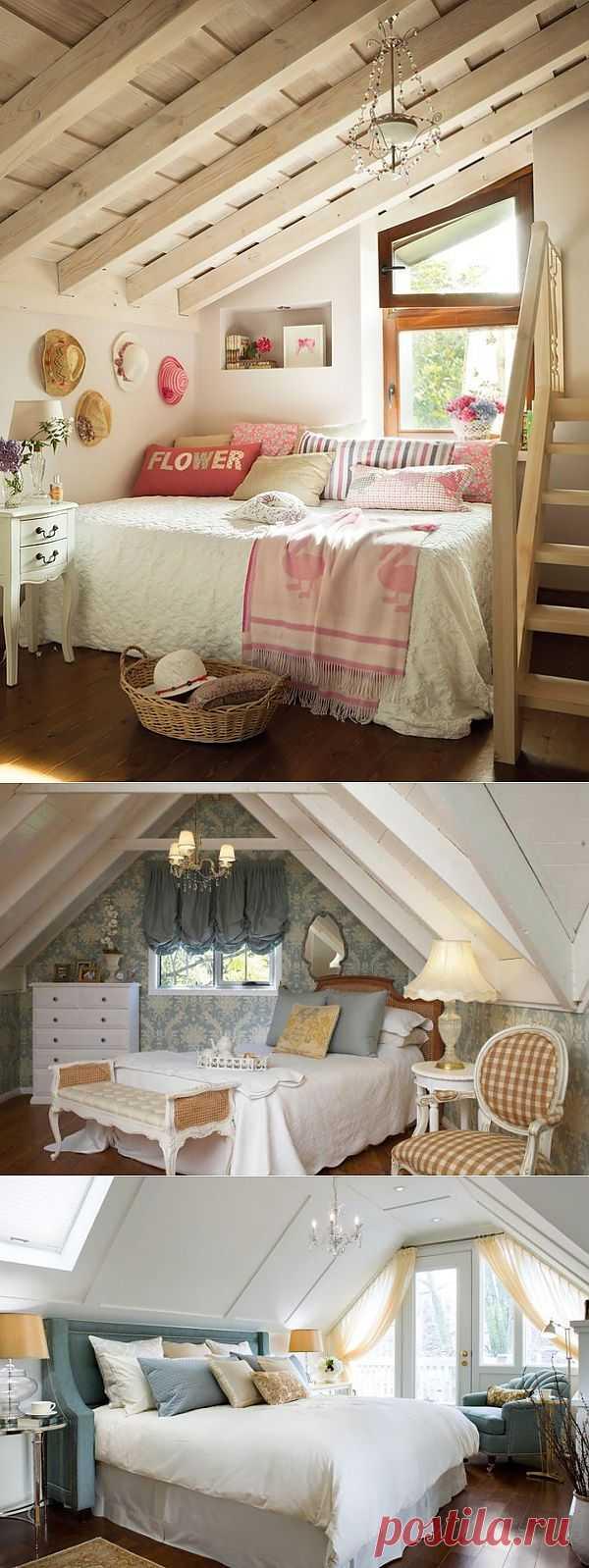 Обустройство комнаты под крышей