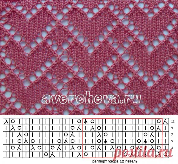 узор 499 «сердечное поле»   каталог вязаных спицами узоров