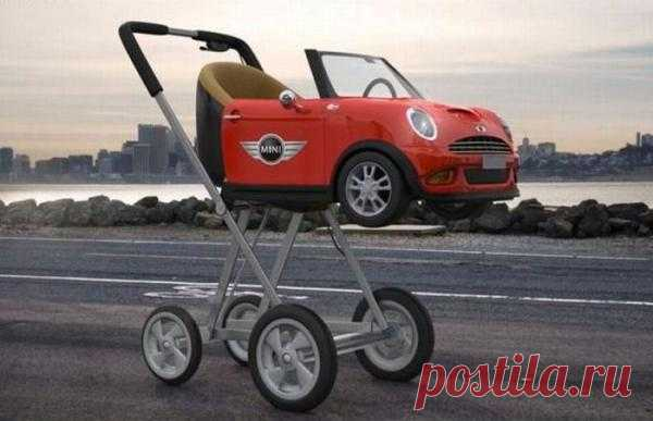Коляска в виде автомобиля Mini