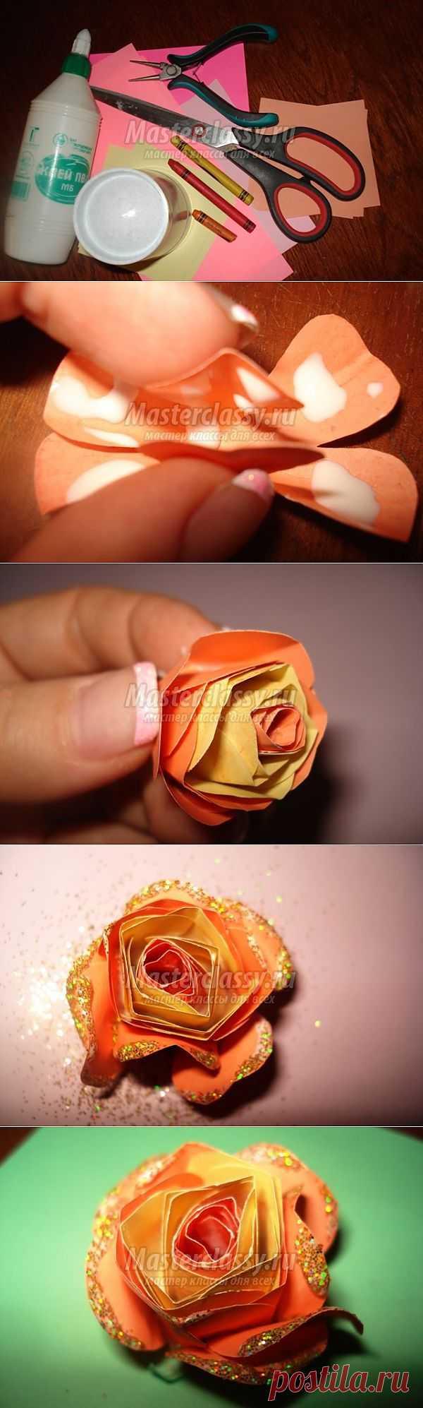 Скрапбукинг. Роза из бумаги. Мастер класс с пошаговыми фото