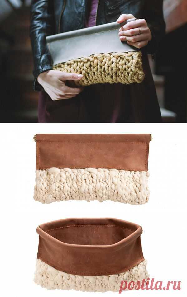 Вязаный, кожаный клатч (трафик) / Сумки, клатчи, чемоданы / Модный сайт о стильной переделке одежды и интерьера