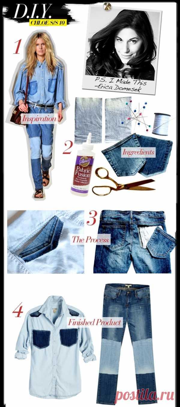 """Джинсовый """"костюм"""" (DIY) / Переделка джинсов / Модный сайт о стильной переделке одежды и интерьера"""