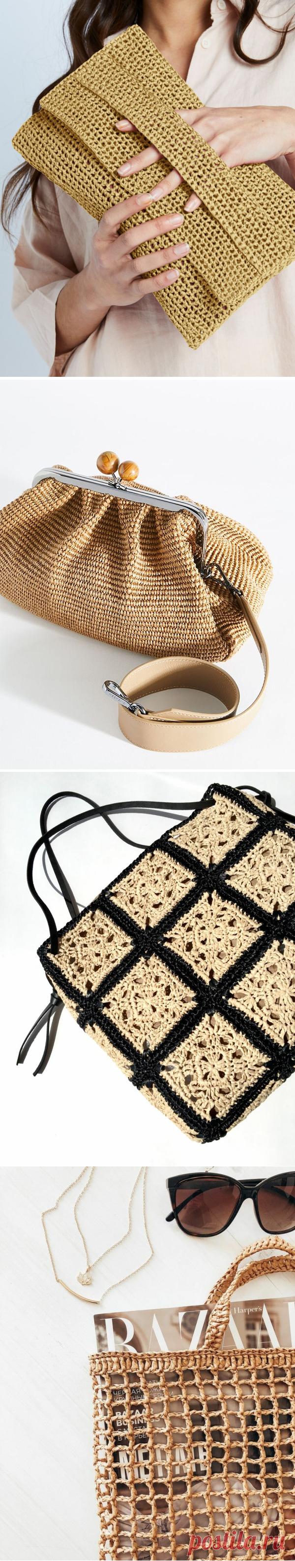 Вдохновляемся и вяжем: сумки из рафии   Anna Kuznetsova Knitting   Яндекс Дзен