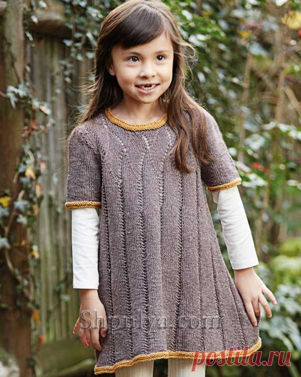 Вязаное платье с ажурными дорожками для девочки - SHPULYA.com