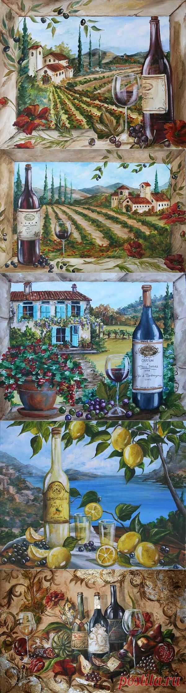 Картинки для декупажа. Вино.