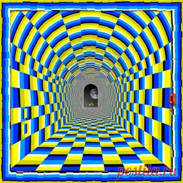 Туннель Иллюзии движения Сегодня хочу показать вам замечательную оптическую иллюзию «Тоннель». Это работа японского художника Кайя Нао (Kaia Nao) на базе известной работы мастера оптических иллюзий Акиоши Китаока. Неподвижное изображение, при взгляде на которое создается абсолютно реальное ощущение полета по туннелю.