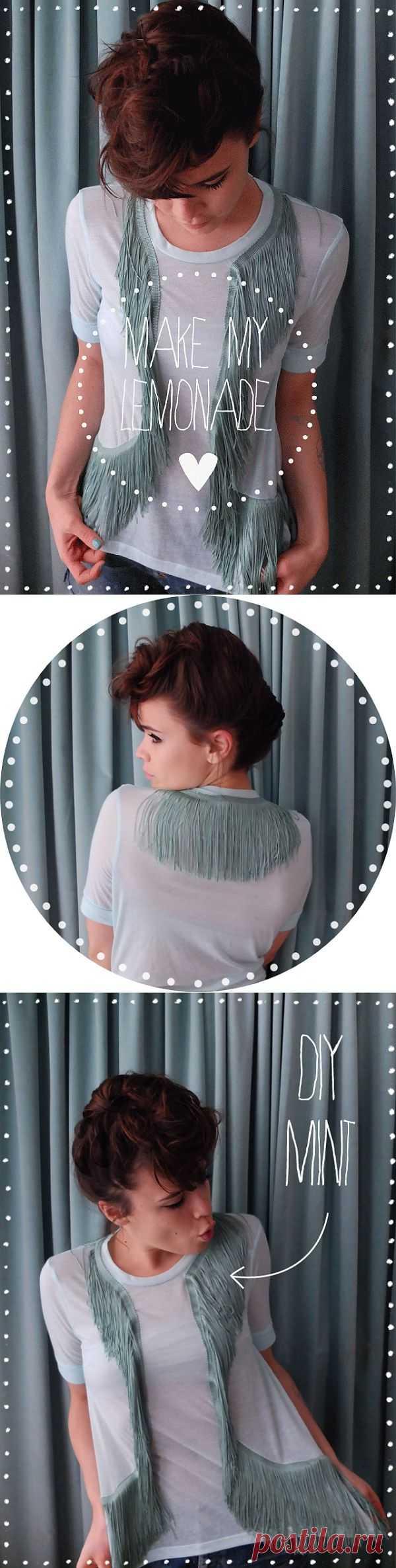 Декор футболки бахромой (мастер-класс) / Футболки DIY / Модный сайт о стильной переделке одежды и интерьера