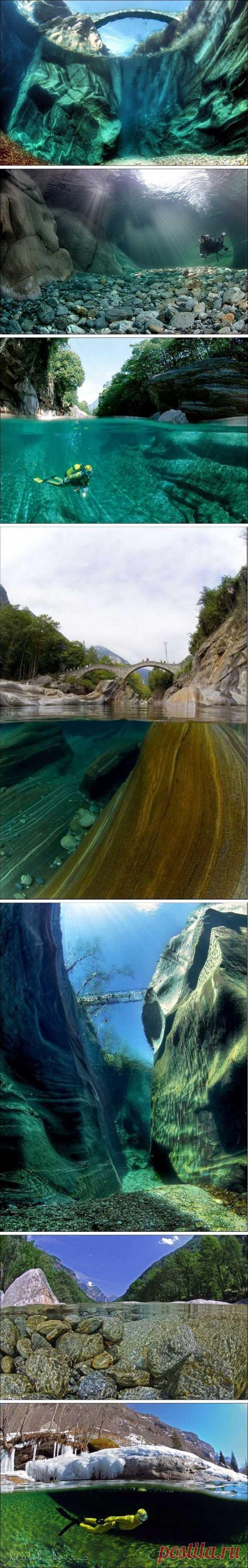 Кристально чистая вода на глубине 15 метров. Река Верзаска, Швейцария