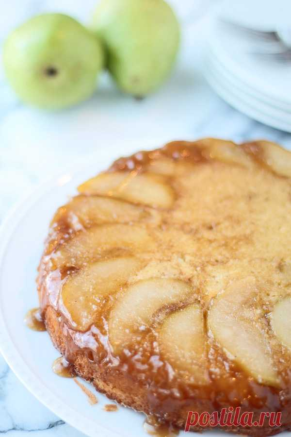 Перевернутый пирог с грушами и карамелью