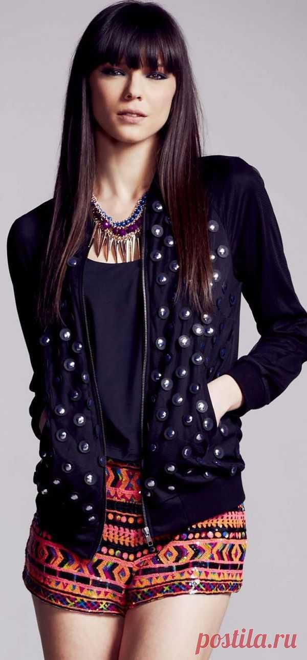 Куртка с оригинальным декором из кожи / Курточные переделки / Модный сайт о стильной переделке одежды и интерьера